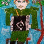Домашонкин Серафим (9 лет) «Гармонист», маркер, масляные мелки, преподаватель Домашонкина Е.И., Детская художественная школа «Весна» г. Бердска