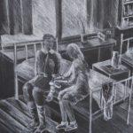 Бокова Арина (15 лет) «В госпитале», белый карандаш, преподаватель Беляк И.В., Детская художественная школа № 2 г. Новосибирска