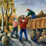 Кубашева Степанида (16 лет) «Осенняя уборка», гуашь, преподаватель Ермак Е.Н., Линевская детская художественная школа