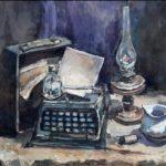 Калуга Анастасия (14 лет) «Вещи старого писателя», масло, преподаватель Шаронова А.А., Линевская детская художественная школа