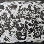 Рожкова Людмила Васильевна «Сон победы», линогравюра, 64х46, Детская художественная школа «Весна» г. Бердска