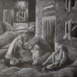 Виноградова София (16 лет) «Краюшка хлеба», белый карандаш, преподаватель Беляк И.В., Детская художественная школа № 2 г. Новосибирска