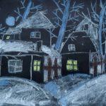 Басараб Юлия (7 лет) «Ночь перед Рождеством», пастель, преподаватель Шаронова А.А., Линевская детская художественная школа