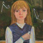 Яблонская Вероника (11 лет) «Автопортрет у доски», гуашь, преподаватель Торгонская А.Е., Детская художественная школа р.п. Краснообск