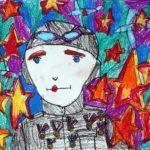 Петрова Елизавета (7 лет) «Герой», маркер, масляные мелки, преподаватель Маркелова И.В., Детская художественная школа «Весна» г. Бердска