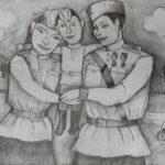 Яковлева Мария (9 лет) «Защитник», бумага, карандаши, преподаватель Михалева О.А., Маслянинская детская школа искусств